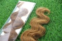 atkı insan saçı paketi toptan satış-Çilek Sarışın Renk Işlenmemiş Bakire Saç Bant% 100% İnsan Saç Dokuma 10-30 Inç Vücut Dalga Cilt Atkı Saç Uzantıları 40 adet / paket / 100