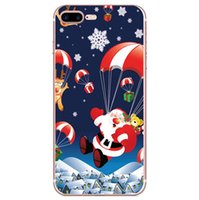 Wholesale santa christmas silicone case resale online - Santa Claus TPU Silicone Soft Phone Case For iPhone Xs Max XR Xs Phone Cases Cover For iPhone X s Plus Christmas elk Snowflake