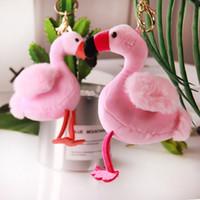 trucs de voiture rose achat en gros de-Mode Flamingo En Peluche En Peluche Porte-clés Fluffy Rose Mignon Porte-clés Pour Les Femmes Sac De Voiture Porte-clés Bijoux Accessoires