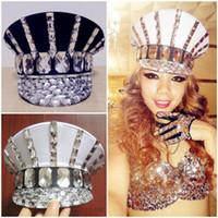 ingrosso cappello nero del rhinestone-Ds Costume Bling Cappelli per bambini Sparkling Diamond Cap Strass Black White Hat Roupa Feminina Costume Beyonce Dance