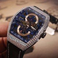 ingrosso orologi da yachting-Nuovo Saratoge Vanguard S6 Yachting V45 S6 cassa in acciaio Sivler Diamond Bezel blu quadrante interno scheletro automatico Mens Watch Leaterh Rubber E17b2