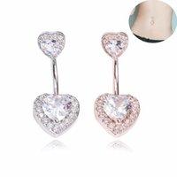 ingrosso ombelico in pietra-doppio cuore con pietre piercing gioielli zircone anello ombelico anello ombelico Anello ombelico