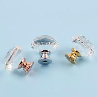 boutons pour cuisine achat en gros de-30mm Diamant Forme Cristal Verre Boutons Armoire Poignées Tiroir Boutons Armoires De Cuisine Poignées Mobilier Manche de Matériel