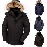 nylon casaco de inverno trincheira venda por atacado-Homens de pele de guaxinim Designer de jaqueta de inverno North Goose Calgary Down Parka Jacket Casaco quente Jaquetas sopradoras Jaqueta Trench Coats Doudoune Homme 19