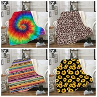 plüsch-sofas großhandel-Decke Sherpa 150 * 130 cm Sonnenblume Blumen gestreifter Leopard 3D Printed Kids Winter-Plüsch-Schal Couch Sofa wirft Fleece-Verpackungs-Umhang LJJA2961