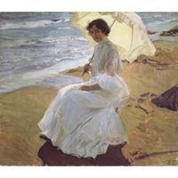 Wholesale art panels for sale for sale - Hand painted Joaquin Sorolla y Bastida oil paintings for sale Clotilde at the beach landscapes art for wall decor