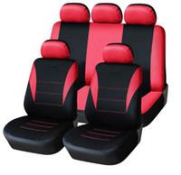 rote schwarze sitzbezüge großhandel-Universal-Auto-Sitzabdeckung 9pcs Vollsitzbezüge Beschläge Crossovers Sedans Auto-Innenraum Autozubehör Geeignet für Autopflege Seat Protector