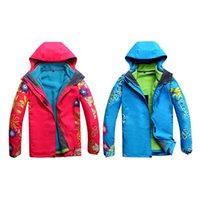 ingrosso cappotto doppio strato donne-Giacche da sci donna 3 in 1 doppio strato caldo impermeabile antivento all'aperto da trekking abbigliamento sci sci Snowboard cappotto giacca