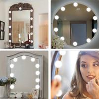 ankleideraum spiegel lichter großhandel-Kosmetikspiegelleuchten-Kit, LED-Leuchten für Spiegel mit Dimmer und USB-Telefonladegerät, LED-Schminkspiegelleuchten-Kit für Ankleidezimmer im Badezimmer