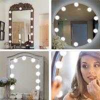 luces led para espejo de baño. al por mayor-Vanity Mirror Lights Kit, luces LED para espejo con atenuador y cargador de teléfono USB, kit de luces LED para espejo de maquillaje para vestidor de baño