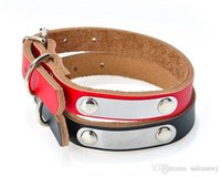 Wholesale dog collars slides online - custom thick leather dog collar with slide for engraved Pet Name ID and phone number