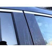 fenster filmmuster großhandel-6pcs Glattes Fenster Säule Film-Feld-Carbon-Faser-Muster-Sill-Ordnungs-Säule Pfosten-Abdeckung für Honda CRV 2017-2018 Zubehör
