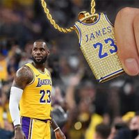 Wholesale james jewelry for sale - Group buy Luxury Designer Jewelry James King NO23 Los Angeles Jersey Pendant Necklace Iced Out Cubic Zircon Mens Hip Hop Jewelry Gift