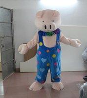 porco azul dos desenhos animados venda por atacado-Mais recente de alta qualidade Adulto personagem de desenho animado adorável azul porco Traje Da Mascote trajes do partido de Halloween Feriado especial roupas