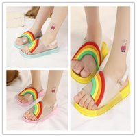 Wholesale candies sandal heel resale online - 2019 Thick Broadband Kids Boys Girls Jelly Shoes Sandals EUR Candy Color Beach Bath Slipper Flat Water Shoes Street Wear NEW A51302