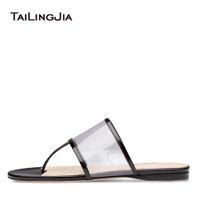 a26f8b7de5cee5 Transparent PVC Flat Slippers Women Slide Thong Sandals Flip Flops Summer  Casual Shoes Ladies Clear Slides Large Size 2018