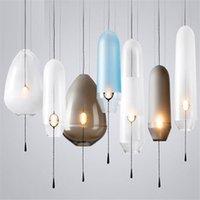 luz de la cocina del art déco al por mayor-Lámpara colgante de cristal azul nórdica moderna en forma de lágrima LED art deco simple lámpara colgante blanca para sala de estar restaurante cocina