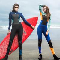 yüzme neopren kıyafeti toptan satış-2019 Yeni 1.5mm Neopren OEM veya ODM Hizmeti Kadınlar Uzun Kollu Elbise Ve Yüzme Suit