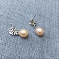 Femmes 5-6x7-8mm Double Perles Argent Chaîne Crochet Goutte Dangle Boucles d/'oreilles cadeau