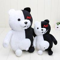 siyah oyuncak bebek toptan satış-Dangan Ronpa Süper Danganronpa 2 Monokuma Siyah Beyaz Ayı Peluş Oyuncak Yumuşak Dolması Hayvan Bebekler Noel Hediyesi