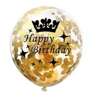 çocuk balonları toptan satış-Doğum günü partisi Dekor Çocuk Yetişkin 40 50 30 40 50 Doğum Balon Helyum Doğdun Balon Hava Numarası Taç Konfeti Balonlar