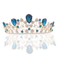 vintage-stil-tiara großhandel-Frauen Vintage Style Blau Strass Krone Diademe Mädchen Party Mode Kopfschmuck Schmuck Damen Zarte Elegante Haarschmuck