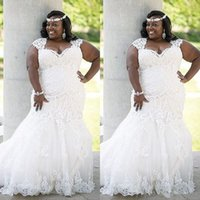 Stunning Summer Lace Wedding Dress Plus Size Country Style Elegant Mermaid  Bridal Gowns Appliques Tulle Dress for Curvy Brides
