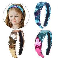 Wholesale hair slips resale online - Reversible Sequin Headband Flip double sided Hair Clasp Glitter Hair Sticks Hairband For Women Girl Non slip Head Hoop Party Favor GGA1622