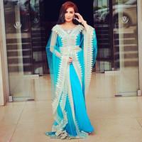 кафтаны оптовых-Небесно-голубые вечерние вечерние платья Abaya Dubai Кафтаны с V-образным вырезом из бисера и V-образным вырезом с длинными рукавами плюс размер арабского выпускного платья для выпускного вечера