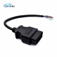 cable eobd obd2 al por mayor-Mujer cable OBD2 16Pin macho del conector enchufable para ELM327 OBD Cable de extensión del adaptador OBDII EOBD ODB2 16 Apertura Pin OBD 2 Adaptador