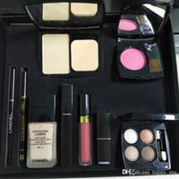 Wholesale blush eyeshadow lipstick resale online - C brand piece set Foundation powder Blush with brush Liquid foundation lipstick lipgloss eyeshadow palette eyeliner in set