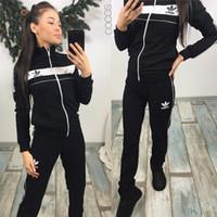 sudaderas zip al por mayor-2019 Ropa deportiva para mujer Sudaderas con capucha Imprimir Sudadera + Pantalones Conjunto de dos piezas Mujeres Jogging Traje deportivo para yoga