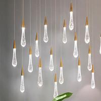gota de cristal moderna al por mayor-Crystal lluvia de meteoros lámpara colgante de post-moderna lámpara creativa ventana escalera LED restaurante bar pequeña gota de luz que cuelga