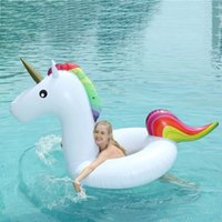 bote flotador inflable para bebé al por mayor-Blue Song Marca Adultos Gigante Unicornio Piscina Flotador Bebé inflable Unicornio Anillo de natación Asiento Barco Deporte acuático Boya Diversión Juguetes para la playa