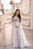 Wholesale baby wear photos for sale - Group buy 2019 Maternity Evening Dresses Baby Shower Gowns with Tulle Skirt A line Prom Dress Sleeveless V neck Tulle Sequin Party Gowns