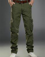 ingrosso pantaloni da escursionismo nero-Tuta da uomo di alta qualità Pantaloni militari casuali Pantaloni da uomo neri mens kaki Pantaloni da trekking per sport all'aria aperta Molte tasche resistenti all'usura