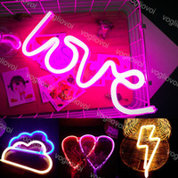 Wholesale red night lights resale online - Led Neon Sign Light SMD2835 Indoor Night light Love Heart Cloud Lightning Model Holiday Xmas Party Wedding Decorations Table Lamps EUB