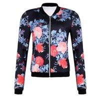 chaqueta de impresión rosa al por mayor-Ropa de abrigo y abrigos para mujer Estilo caliente de manga larga El último estilo nacional con estampado de rosas, chaqueta de damas abrigo pequeño