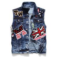 Wholesale vintage badges resale online - Newest Mens Badge Denim Vest Tops Sleeveless Jeans Jacket Fashion Designer Vintage Washed Slim Fit Waistcoat Big size Outwear