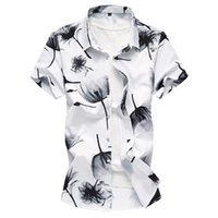 414c8a9950f 2018 Summer Men s Shirt New Fashion Chinese Style Ink Print Short Sleeve  Shirt Mens Clothes Trend Casual Flower Shirts Mens 7XL M3-096