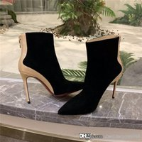 Wholesale red sole stiletto shoes for sale - Group buy Womens rivet ankle boots for Nude boots with pointed stiletto heels in matte leather Fashionable shoes with red soles With box