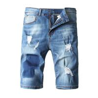 jeans shorts de joelho venda por atacado-Mens Verão Denim Shorts Joelho rasgado Comprimento Jeans macio riscado moda azul Jean Shorts Tamanho Grande