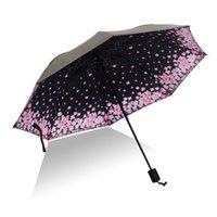 fleurs de pli achat en gros de-2018 Nouveaux Creative Gifes Designer Fleurs de cerisier romantiques Parapluies ensoleillés et pluvieux Coloré à trois plis inversé Coupe-vent 8Ribs Doux