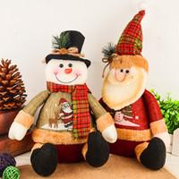 muñeca grande de santa claus al por mayor-1pcs Lovely 28cm Big Christmas Ornaments Sitting Plump Santa Claus Snowman Plush Doll Christmas Decorations For Home Xmas Tree