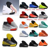 ingrosso nuove scarpe da calcio cr7-2018 tacchetti da calcio originali uomo Mercurial SuperflyX VI CR7 scarpe da calcio Neymar Elite TF Mercurial Superfly scarpe da calcio turf economici nuovo
