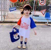 ingrosso abiti bambola per bambini-Vestito per bambino Toddler Baby Girls Summer New Kids e Girls Back Doll Long T-shirt Baby Dress