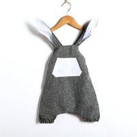 bebek küpe elbisesi toptan satış-Bebek Giyim Paskalya Bunny Bodysuit Erkek Kız Yaz Erkek Bebek Kız 3D Tavşan Kulak Romper Tulum Kız Elbise kıyafet Çocuk Giysileri B11