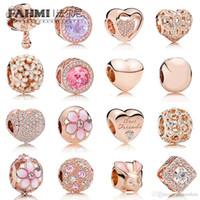 corazón de la flor de cerezo al por mayor-FAHMI 100% 925 plata esterlina Charm Rose Gold Beads Cherry Blossoms conejo temperamento en forma de corazón exquisito moda joyería de las señoras