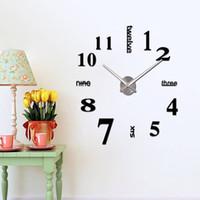 современные самоклеящиеся настенные часы оптовых-English Alphanumeric Self-adhesive Clock DIY Applique Modern Wall Digital Retro Clock Quartz Silence Decorative