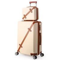 valises blanches achat en gros de-Bagages rétro pour femmes avec sac de maquillage 2PC Set Lady Lovely Travel bag vs filles blanc-crème Trolley Suitcase Set 20/24/28 pouce